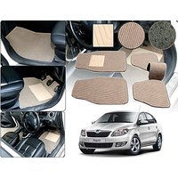 Premium Quality 2D Fabric Car Mats With PVC Coating For Skoda Rapid - Beige
