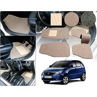 Premium Quality 2D Fabric Car Mats With PVC Coating For Tata Indica Vista -Beige