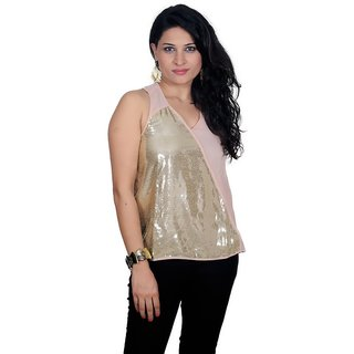Golden Couture Golden & Peach Polyester Top