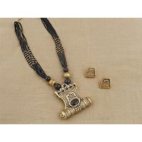 Firstloot Traditional Temple Necklace Set In Black And Gold Colour - PES41