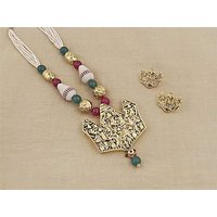 Firstloot Temple Necklace Set In Maroon, Green, White And Gold Colour - PES49