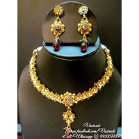 Firstloot Traditional Polki Necklace Set In Red, Green And White Colour - POS108