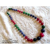 Firstloot Beautiful Bead Necklace Set In Pink, Green And Blue Colour - BD145