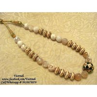 Firstloot Bead Necklace Set In Beige And White Colour - BD86