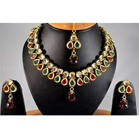 Firstloot Kundan Necklace Set In Red, Green And White Colour - KS62