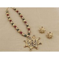 Firstloot Temple Necklace Set In Maroon, Green And Gold Colour - PES35