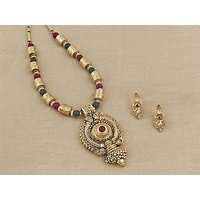 Firstloot Temple Necklace Set In Maroon, Green And Gold Colour - PES36