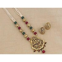 Firstloot Temple Necklace Set In Maroon, Green And Gold Colour - PES44