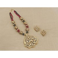 Firstloot Temple Necklace Set In Maroon, Green And Gold Colour - PES52