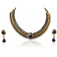 Firstloot Choker Style Polki Necklace Set In Blue And White Colour - POS300