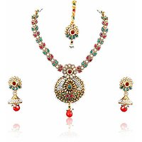 Firstloot Polki Necklace Set In Red, Green And White Colour - POS316