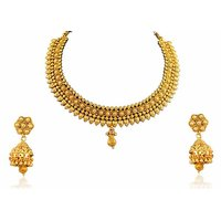 Firstloot Beautiful Necklace Set With Jhumkis In Antique Finish POS320