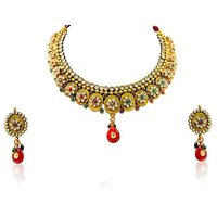 Firstloot Polki Necklace Set In Red, Green And White Colour - POS323