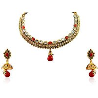 Firstloot Polki Necklace Set In Red, Green And White Colour - POS329