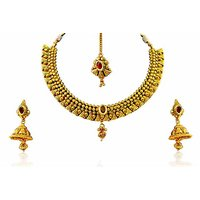 Firstloot Polki Necklace Set In Red Stones - POS332