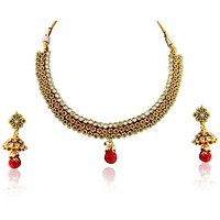 Firstloot Polki Necklace Set In Red, Green And White Colour - POS334