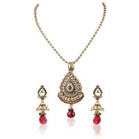 Firstloot Polki Necklace Set In Red, Green And White Colour - POS341