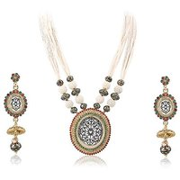 Firstloot Thewa Necklace Set In Red, Green, White And Gold Colour - TS83