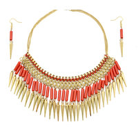 Fashionera- Red And Golden Neck Cover Set