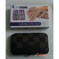 Manicure Set - SWISS BEAUTY - (7-in-1) Color : Brown Check