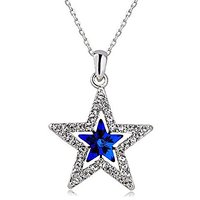 GirlZ! Sparkling Blue Star Crystal Pendant With Chain