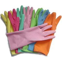4 PAIRS (LARGE) REUSABLE LATEX RUBBER HAND GLOVES DISH WASHING CLEANING GARDEN