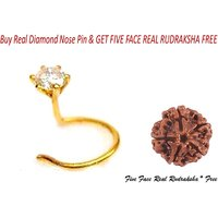 Real & Round 0.10ct Diamond Gold Nose Pin And Get Real Five Face Rudraksha FREE