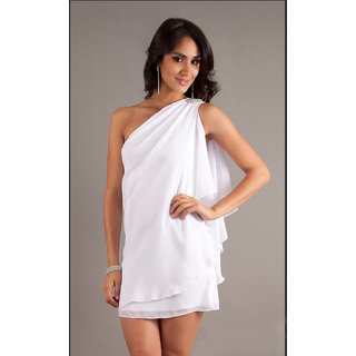Fabrawn Short One Shoulder Dress White