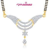 MEENAZ AMAZING CZ GOLD AND RHODIUM PLATED MANGALSUTRA PENDENT  MSP714