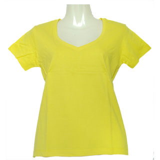 Fruit Of The Loom Ladies Deep V-Neck Tshirt LDVNBCZ_Yellow