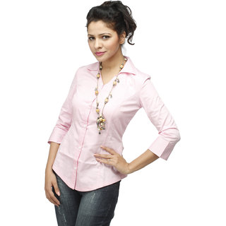 Pink Corporate Cotton  Shirt With Swarovski Crystal Logo