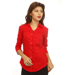 Blood Red Corporate Cotton  Shirt With Swarovski Crystal Logo