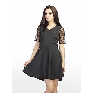 Schwof Cross Back Black Lace Dress