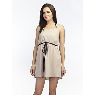 Schwof Beige Tie Up Dress