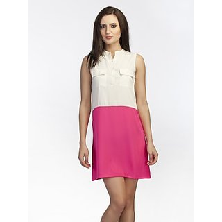 Schwof White And Fushia Shirt Dress