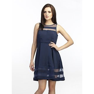 Schwof Blue Mesh Pannel Dress