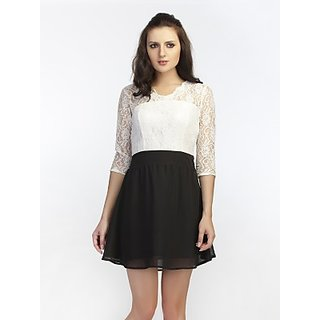 Schwof Black White Lace Dress