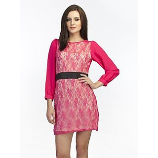 Schwof Fuschia Lace Dress
