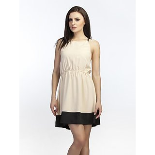 Schwof Black Hem Beige Dress
