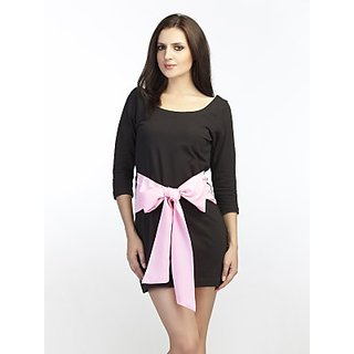 Schwof Pink Big Bow Black Dress