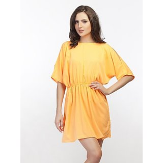 Schwof Orange Crepe Dress