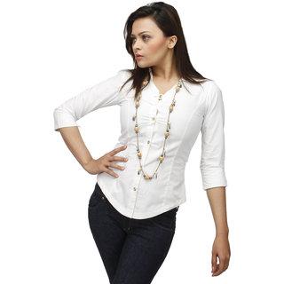 White Corporate Cotton  Shirt With Swarovski Crystal Logo