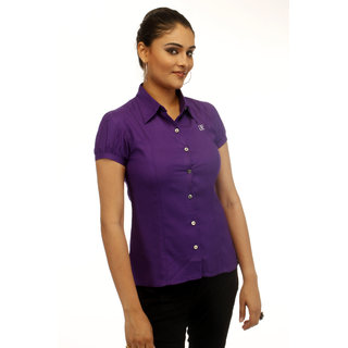 Girl's Purple Formal Shirt With Swarovski Crystal Logo