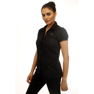 Girl's Z Black Corporate Shirt With Swarovski Crystal Logo