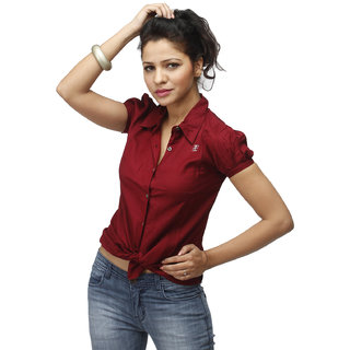 Girl's Maroon Formal Shirt With Swarovski Crystal Logo
