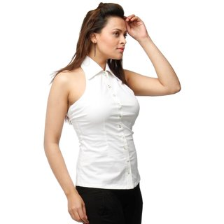 Halter Neck Cotton Stretch Shirt  White