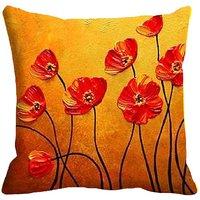 meSleep Painted Flower Digitally Printed Cushion Cover (16x16)