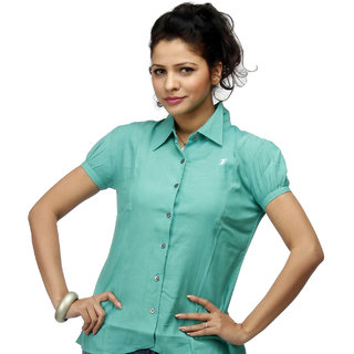 Girl's Emerald Formal Shirt With Swarovski Crystal Logo