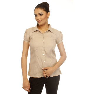 Girl's Beige Formal Shirt With Swarovski Crystal Logo
