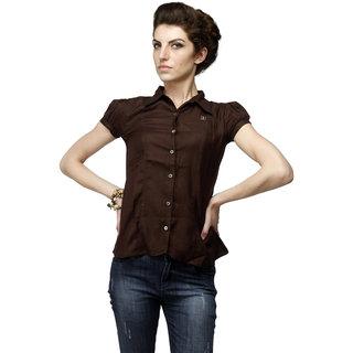 Girl's Coffee Formal Shirt With Swarovski Crystal Logo